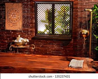 Interior of hindu ayurveda massage spa.