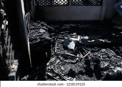 Interior of a home damaged by fire