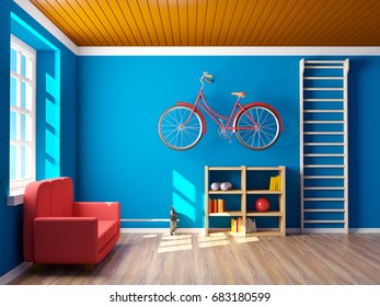 interior of home gym with bicycle at wall. 3d illustration