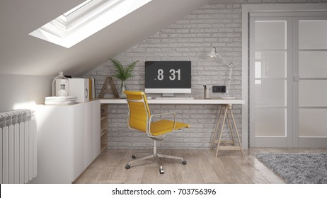 Interior of a home office - render using 3 d s Max