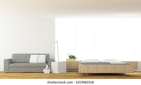 Interior  hotel  3D Rendering Bedroom minimal space and background decoration