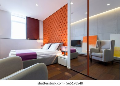 Interior of hotel apartment, bedroom