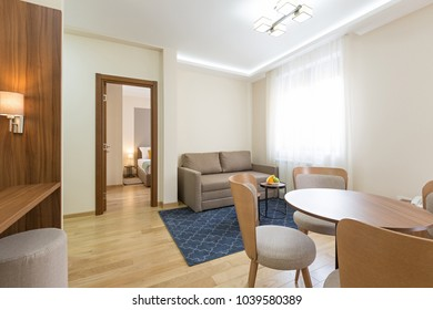 Interior of a hotel apartment, dining area