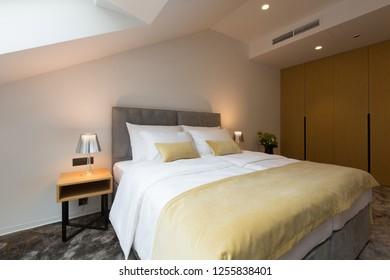 Interior of a hotel apartment loft bedroom
