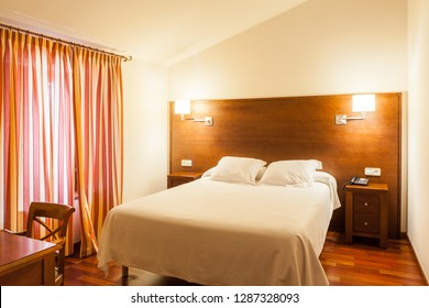 Interior of an hotel bedroom with contemporary design architecture.