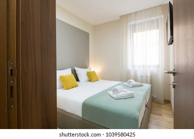 Interior of a hotel bedroom with double bed