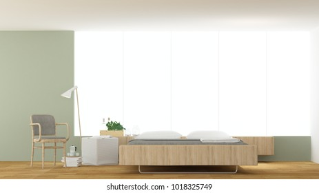 The interior hotel bedroom minimal space and wall decoration empty - 3d rendering