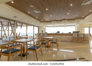 Interior of a hotel cafe bar