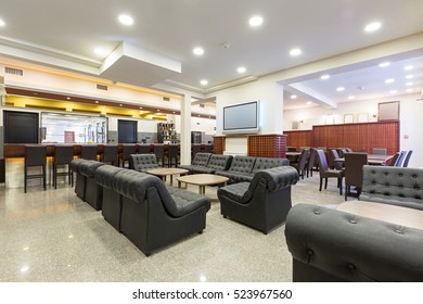 Interior of a hotel lobby cafe