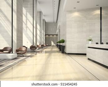 Interior of hotel reception 3D illustration
