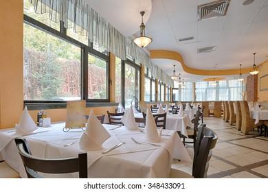 Interior of a hotel restaurant