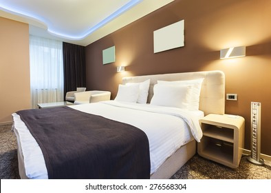 Interior of a hotel room for two persons. Modern luxury design.
