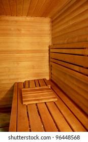 Interior of a hotel sauna, modern wooden design
