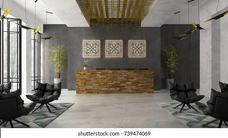 Interior of a hotel spa reception 3D illustration