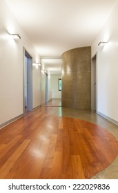 interior house, corridor view, parquet floor