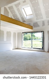 Interior of a house with a mezzanine under construction
