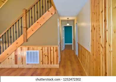 Interior of a house showing stairs and hallway