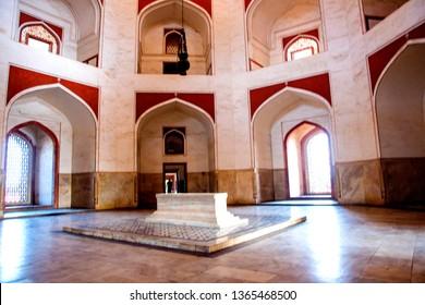 Interior of Humayun's Tomb, Delhi, India, the tomb of the Mughal Emperor Humayun built in 1565,  Delhi, India, UNESCO World Heritage Site.
