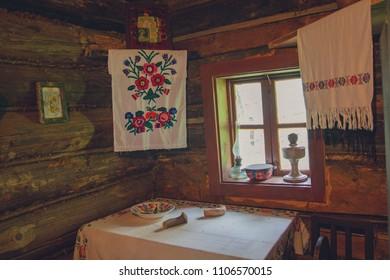 Interior of the hut of Ukrainian peasants in the past