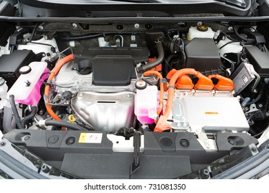 Interior of a hybrid car powered both by electric battery and gas engine