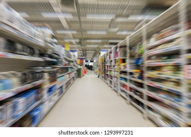 interior hypermarket in the Department of household appliances, Abstract blur Background,  Convenience Store as shopping Concept.