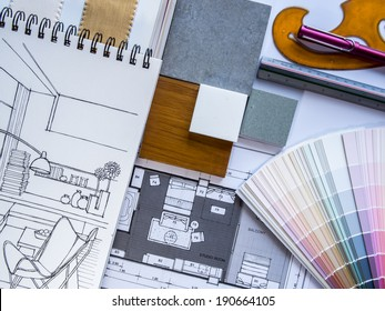 Interior illustration sketch with material color scheme on white table