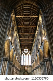 Interior image from inside Glasgow Cathedral in low angle view, Scotland.