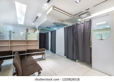 Interior of immigration office. Passport photo booths
