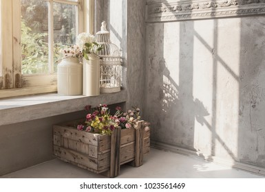 interior indoor garden vintage style and sun beam on window show morning time from garden