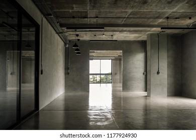 Interior industrial cement loft design concept modern home office