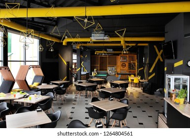 Interior industrial cement loft design concept modern cafe , restraunt. With place for children