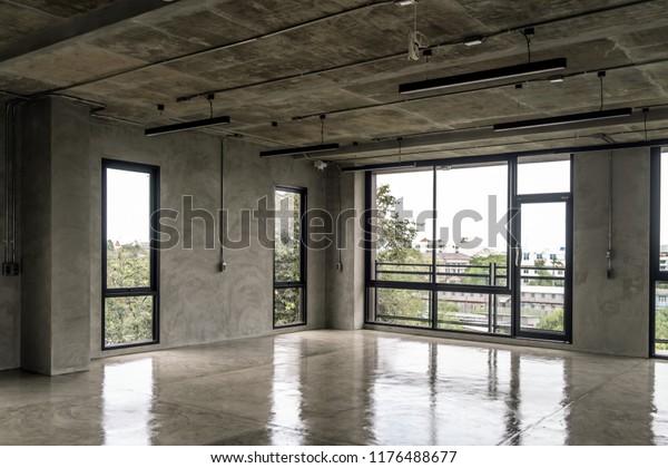 Interior Industrial Cement Loft Design Concept Stock Photo