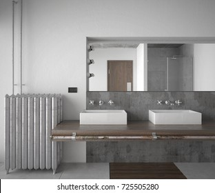 Interior of a industrial style bathroom - 3 d render