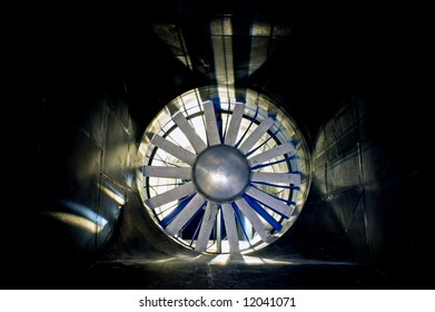 The interior of an industrial wind tunnel