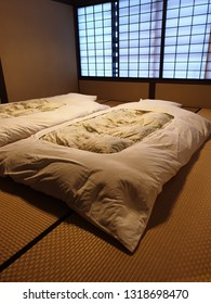 Interior inside the bedroom of old style Japanese Ryokan room