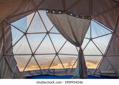 Interior inside Geodesic Dome Tents pvc. - Shutterstock ID 1909924246