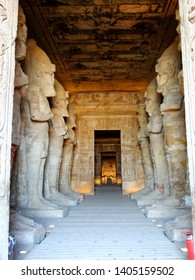 The interior of inside Great Temple, Abu Simbel in Egyptian, in Nubia village in Egypt. The complex is part of theUNESCOWorld Heritage Siteknown as the Nubian Monuments.