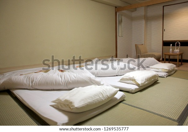 Interior Inside Traditional Japanese Bedroom Futon Stock ...