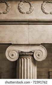 Interior ionic pillar in vintage sepia