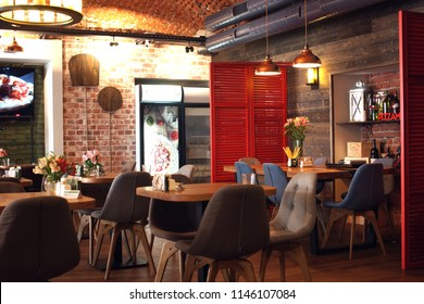 Interior of the Italian restaurant Pizzamento in Moscow. July 2018. Moscow, Russia.