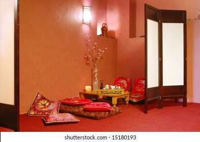 Interior of japanese or chinese restaurant in red tone