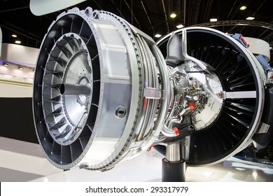 The interior of a jet engine