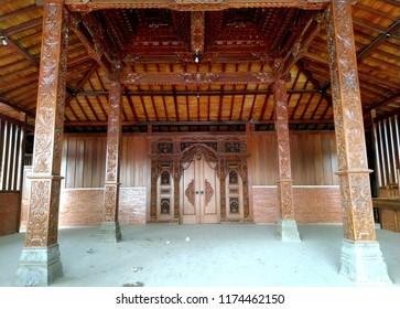 Interior of Joglo house, traditional house from Central Java, Indonesia