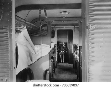 Interior of Junkers' plane passenger airplane with sleeping bunks. In 1924 a Junkers plane made the World's first nighttime flight with passengers, between Berlin and Konigsberg