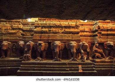 Interior of the Kailash temple, Ellora Cave, India, December 2016. A landscape view of The Kailash temple interior which is one of the largest rock-cut ancient Hindu temples located in Ellora, India.