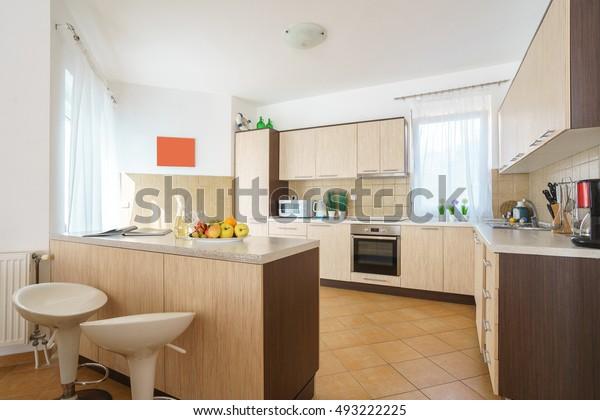 Interior Kitchen Bar Counter Villa | Royalty-Free Stock Image