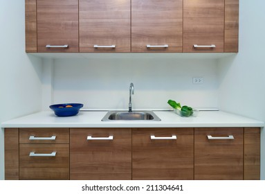 Interior kitchen with cabinet