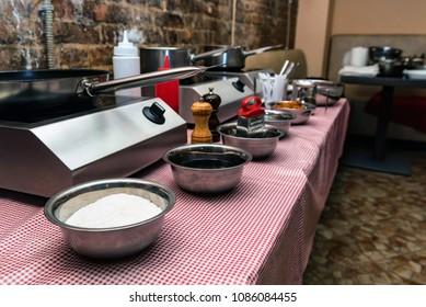 Interior of kitchen for cooking workshop