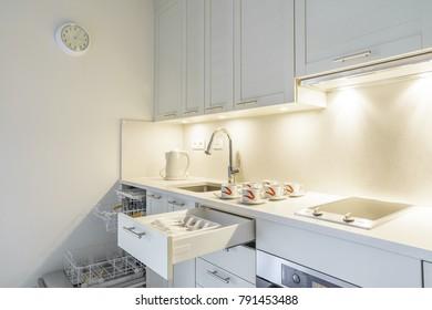 Interior of a kitchen in a cozy private studio