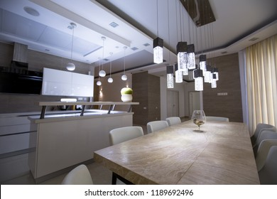 interior kitchen dining room white